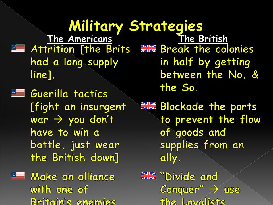 Military Strategies Attrition [the Brits had a long supply line].